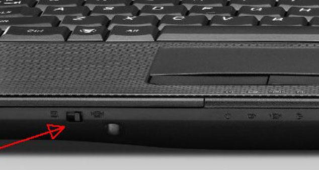 Механический переключатель WI-FI на ноутбуке