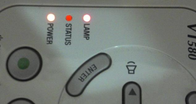 Красная индикаця lamp на проекторе